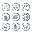 cryptocurrency black outline icon set isolated vector image vector image