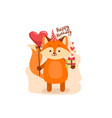 cute cartoon lovely red fox with text happy vector image vector image