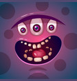 cute funny crazy monster character he is vector image vector image