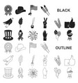 day of patriot holiday black icons in set vector image