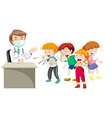 Doctor and many sick children vector image vector image
