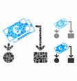 euro cash flow composition icon ragged parts vector image vector image