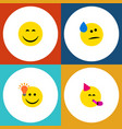 flat icon emoji set of tears have an good opinion vector image vector image