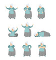 grandmother set poses and motion grandma happy vector image