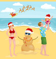happy cartoon family with snowman made with sand vector image