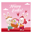 happy easter couple bunny basket egg pink vector image vector image