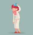 ill female cold virus flu disease illness sick vector image vector image