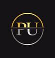 initial monogram letter pu logo design template vector image vector image