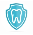 logo combination shield and tooth vector image vector image