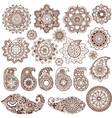 mandalas and paisley in mehndi style vector image vector image