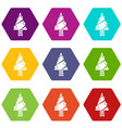 modern christmas tree icons set 9 vector image vector image