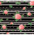 Pattern with Roses and Black Stripes vector image vector image
