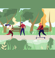 people resting and doing sports in park vector image