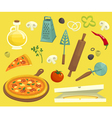 Pizza objects icons set cartoon vector image