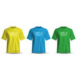realistic t-shirt yellow blue green on white vector image vector image