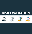 risk evaluation icon set four elements in vector image vector image