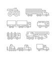 set line icons trucks vector image vector image