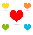 set of colored hearts with shadow vector image