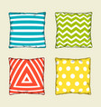 set of multicolored decorative pillows sketch vector image