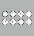 set of white round wall clock vector image vector image