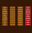 standard set of wooden buttonss for ui game vector image vector image