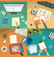 study table and work desktop vector image vector image
