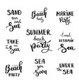 summer hand drawn brush letterings summer vector image