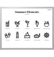 summer holiday elements line pack vector image vector image