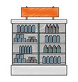 supermarket fridge with products vector image