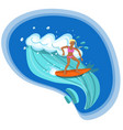 surfer girl riding the sea waves image vector image vector image