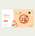 time to eat website landing page design vector image vector image
