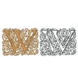 vintage initial letter w with baroque decoration vector image vector image