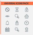 web icons set with clock decrease loup close vector image vector image