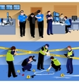 Working Policeman People Horizontal Banners vector image vector image