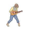 young guitarist man standing and playing music on vector image vector image