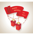 Happy Birthday design with gift boxes and red vector image