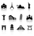 world famous buildings abstract silhouettes vector image