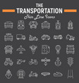 transportation line icon set transport symbols vector image