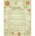 2013 Calendar with snowflakes vector image vector image
