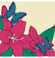background for a card with butterflies and lily vector image