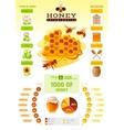 Bee honey logo icon with cartoon flat honeybee vector image vector image