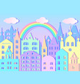 big city rainbow and clouds vector image