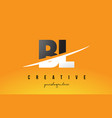 bl b l letter modern logo design with yellow