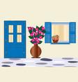 blue door and window with bougainvillea flower vector image