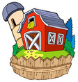 cartoon red barn with fence vector image