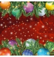Christmas background with branches and balls vector image vector image