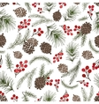 Christmas tree branches seamless patternCone vector image vector image