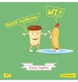 Coffee and hot dog always together Comic vector image