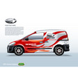 commercial vehicle-van template with logo and red vector image vector image
