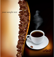 desing with cup of coffee and beans vector image vector image